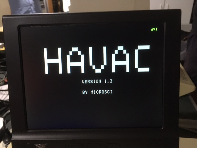 The Havac boot screen. [Credit: Michael Mulhern]